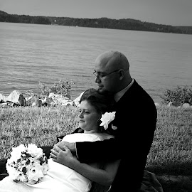 LOVE BY THE LAKE by Rena Spitzley - Wedding Bride & Groom ( wedding photography, lovers, black and white, lake, bride and groom,  )