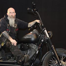 Biker. by Paul Coomber - People Portraits of Men ( beards, motor bike, show, men, leather )