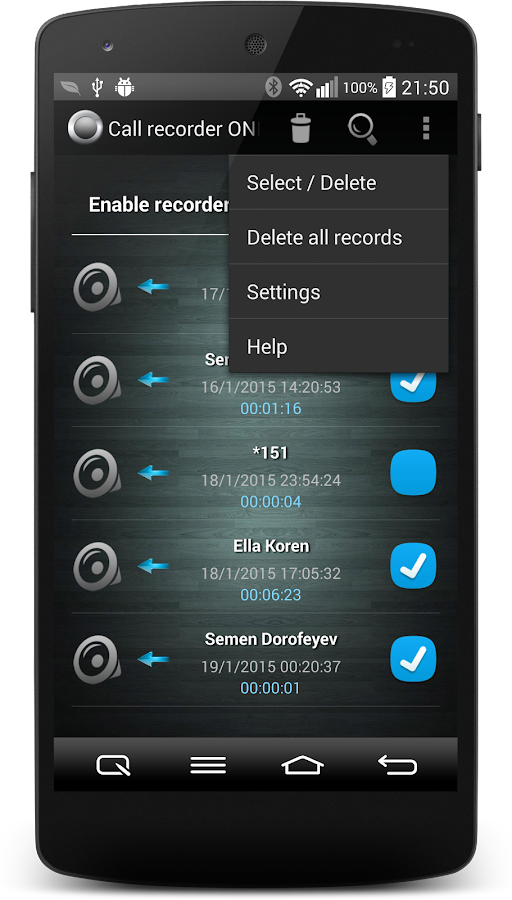 Call Recorder One Touch Full Screenshot 3