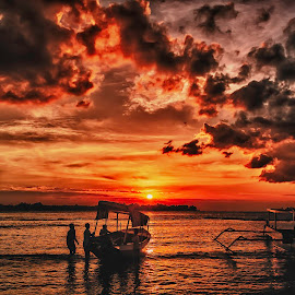 Indonesian sunset by Elmo Ensio - Landscapes Sunsets & Sunrises ( clouds, meno, gili, sky, red, sunset, indonesia, boat,  )