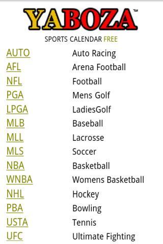 Sports Calendar Free