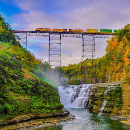 by Brooks Travis - Landscapes Mountains & Hills ( clouds, hill, bnsf, gorge, fall foliage, water falls, trestle, grand canyon of the east, new york, genesee, blue sky, train, mist, river )