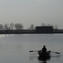 Rowing On The River by Howard Sharper - Sports & Fitness Fitness ( riverside, fitness, rowing, sunset, sports, silver hour )