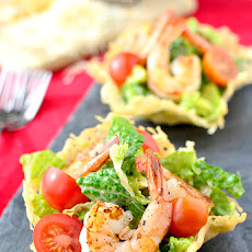 Shrimp Caesar Salad in Crispy Parmesan Cups