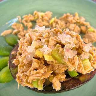 Tuna Stuffed Avocado with Finger Lime Vinaigrette