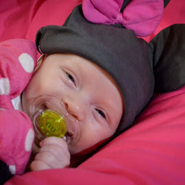 Silly Smiles by Audrey Clemo - Babies & Children Babies ( sweet, minny mouse, three, knit, smiles, hat )