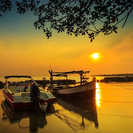 Modern & Traditional by Anjar Wisnubroto - Transportation Boats ( untung jawa, indonesia, sunset, beach, boat,  )