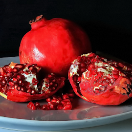 Pomegranate by Michael Schwartz - Food & Drink Eating ( sweet, pomegranate, still life, fruits, seeds )