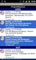 Screenshot of 2015 Nascar Series Schedule
