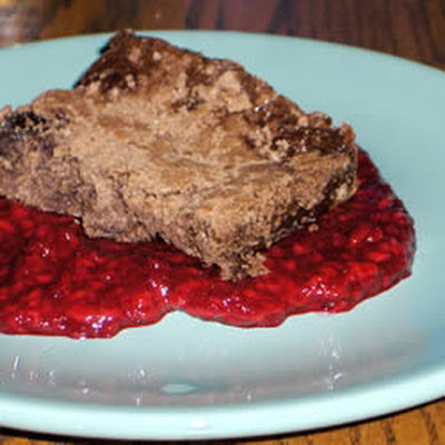 Lesley's Valentine Brownies with Raspberry Coulis