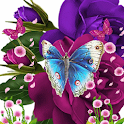 Blue Butterfly On Purple Flowe icon
