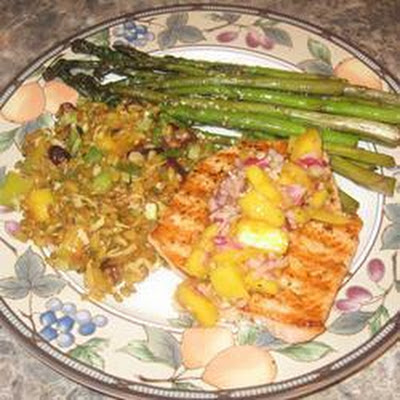 BBQ salmon with curried peach sauce