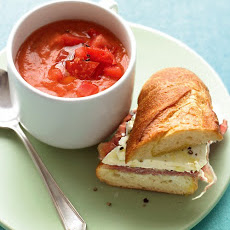 Tomato Gazpacho with Prosciutto-Mozzarella Sandwiches
