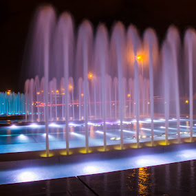 Purple Blue by Bojan Bilas - City,  Street & Park  Fountains ( purple, blue, fountain, zagreb, city, the mood factory, mood, lighting, sassy, pink, colored, colorful, scenic, artificial, lights, scents, senses, hot pink, confident, fun, mood factory ,  )