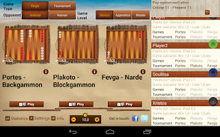 Screenshot of iTavli-Three Backgammon games