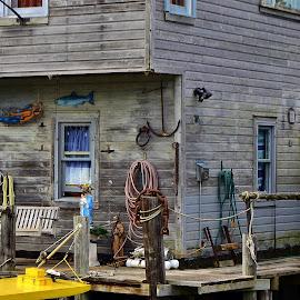 Corner Dock, Fishtown by Tim Hall - Buildings & Architecture Public & Historical ( michigan, fishing gear boating gear, shack, fishing villlage, fishing gear, fishtown, great lakes, seaside, dockside, dock )