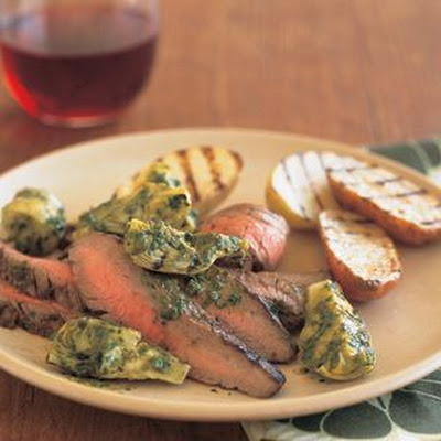 Grilled Flank Steak with Baby Artichokes and Salsa Verde