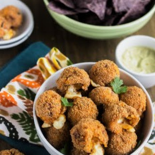 50 Calorie Cheesy Buffalo Chicken Potato Poppers with Avocado Ranch Dip {Low fat, High Protein, GF + Low Calorie}