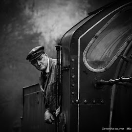The driver  by Mike Fahy - People Portraits of Men ( whitby pickering railway steam locomotive nostalgia )