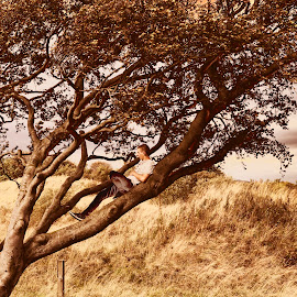 by Andrew Percival - People Portraits of Men ( contrast, clouds, hills, tree, autumn, portrait )