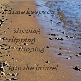 Don't let life slip away in the deep by Deb Bulger - Typography Quotes & Sentences ( water, nature, quotes, rocks and sand, songs, ocean, typography )