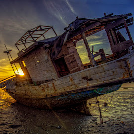 Useless... by Iccang Ninol - Transportation Boats ( wreck, sea, sunrise, transportation, boat )