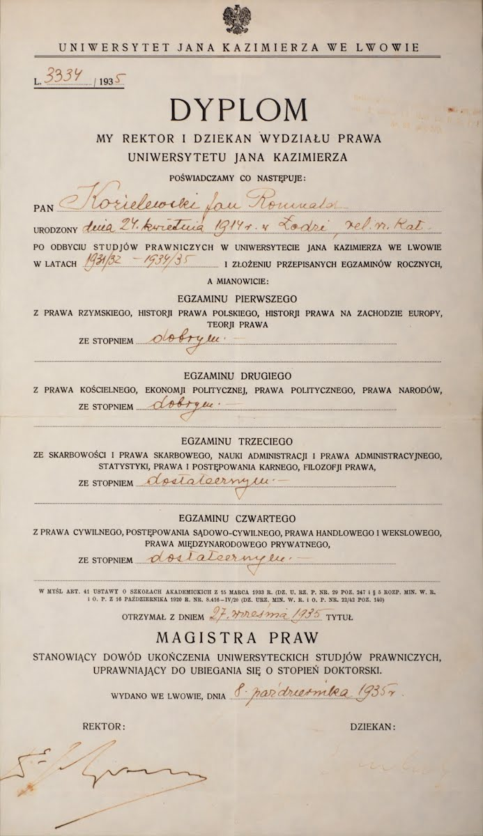 Karski earned his Master of Arts, in Legal and Diplomatic Studies from Jan Kazimierz University in Lwów, 1935.