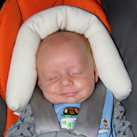Baby Smiles  by Lorie  Carpenter  - Babies & Children Child Portraits ( blue, white, carseat, baby, gray, smiles, boy,  )