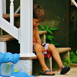 I Don't Wanna by Alvin Simpson - Babies & Children Children Candids ( canon, child, stairs, green, children, rebel, boy, kid )