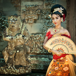 Angel and the Guardian by Hadi T - People Portraits of Women ( balinese, bali, indonesia, beautiful, gown, culture )