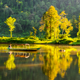 One Fine Morning at Sukabumi by Erwin Sutarko - Landscapes Waterscapes ( mountain view, sukabumi, lake, sunrise, morning )