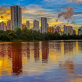 Aquarela by Tony Saad - Buildings & Architecture Office Buildings & Hotels ( brazil, londrina, sunset, lake, sunrise, brasil )