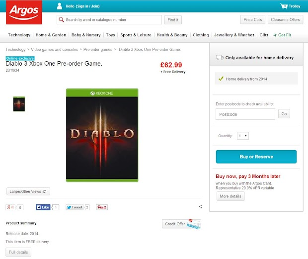 Xbox One version of Diablo III listed by online retailers