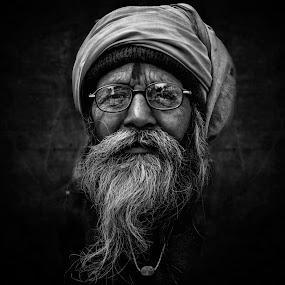 Looking Beyond by Ravikanth Kurma - People Portraits of Men ( look, old, glasses, black and white, punjabi, turban, nandgaon, intense, indian, long beard, beyond, eyes, looking, spectacles, beard, old man, moustache, holi, mono, looking beyond )