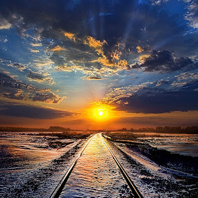 An Old Song  by Phil Koch - Transportation Railway Tracks ( vertical, photograph, farmland, yellow, storm, leaves, love, sky, nature, autumn, snow, orange, twilight, agriculture, horizon, portrait, dawn, winter, environment, season, national geographic, serene, floral, inspirational, natural light, wisconsin, train tracks, railroad, phil koch, spring, photography, sun, farm, ice, horizons, inspired, clouds, office, green, scenic, tracks, morning, field, red, blue, sunset, peace, fall, meadow, summer, sunrise, earth, landscapes,  )