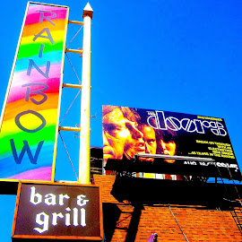 The Doors on the Rainbow, Sunset Strip, Hollywood by Ronnie Caplan - City,  Street & Park  Historic Districts ( music, urban, famous, legendary, nightclub, lifestyle, billboard, signage, hollywood, rock, sunset strip, city )