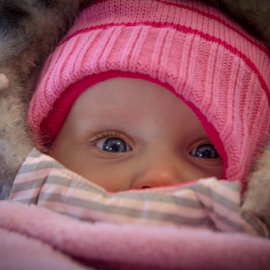 Lady in pink by Christine Jobin - Babies & Children Child Portraits ( child, bleu eye, lady, pink, baby, hat, eye )