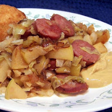 Smoked Chicken Sausage With Apples & Cabbage