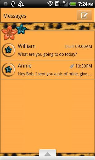 GO SMS THEME OrangeLeopard4U
