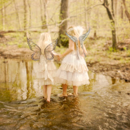 Butterfly by Beth Schneckenburger - Digital Art People ( water, girls, butterfly, forest, river )