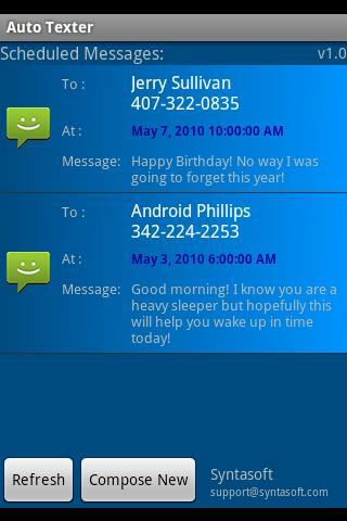 Auto Texter Android 1.5 only