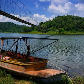 Long-Tailed Boat by Roof LovelyAim - Landscapes Travel ( kaeng krachan national park, phetchaburi, r.oof, kaeng krachan, rooflovelyaim, mountain, d3100, thailand, forest, boat, reservoir, roof lovelyaim, national park, 18-105vr, nikon d3100, tourists, fishing, water reservoir, nikon af-s dx vr 18-105, long-tailed boat )