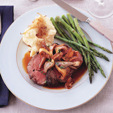 Roast Beef with Wild Mushroom Sauce and Caramelized-Shallot Mashed Potatoes