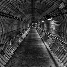 The Tunnel by Kelly Clark - Black & White Buildings & Architecture