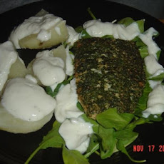 Peppered Salmon W/ Arugula (Rocket) and Yogurt Dressed Potatoes