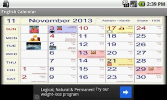 Screenshot of Hindu Calendar English