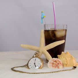 It's 5'oclock somewhere. by Layna Bowers - Artistic Objects Glass ( beach scene, shells, pocket watch, alcoholic beverage, starfish, glass, time piece, cocktail, 5 o'clock,  )