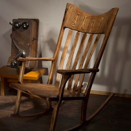 The Phone Call by Doug & Coleen Walkey - Artistic Objects Still Life ( bell, waiting, book, telephone, light ray, rocking chair )