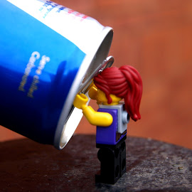 Tonight we're drinking from the can by Stuart Cochrane - Abstract Macro ( macro, can, juice, legoography, soda, lego, redbull )