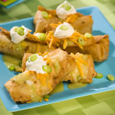 Chicken Chimichangas with Green Sauce